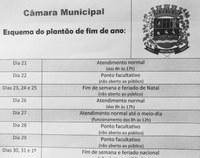 Confira como será o funcionamento na Câmara Municipal neste fim de ano